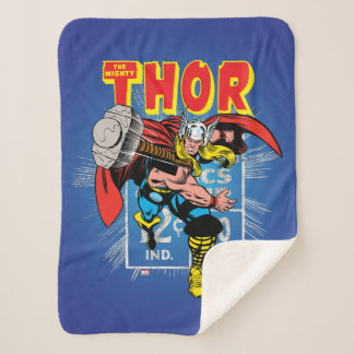 Thor Retro Comic Price Graphic Sherpa Blanket