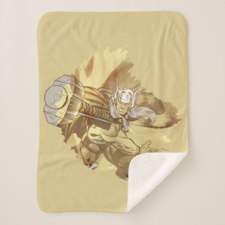 Thor Throwing Mjolnir Sherpa Blanket