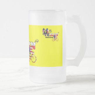 Thoroughbred Texan Cyclist Glass Beer Mug
