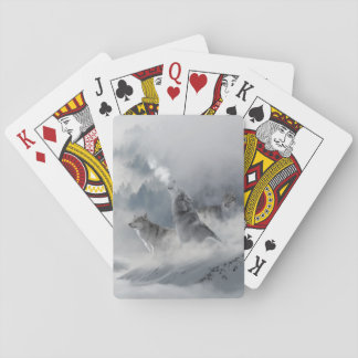 Three Beautiful Wolves in the Winter Snow Playing Cards