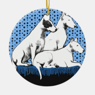 Three Bull Terriers Christmas Ornament