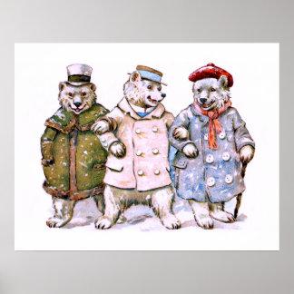 Three Charming Polar Bears Poster