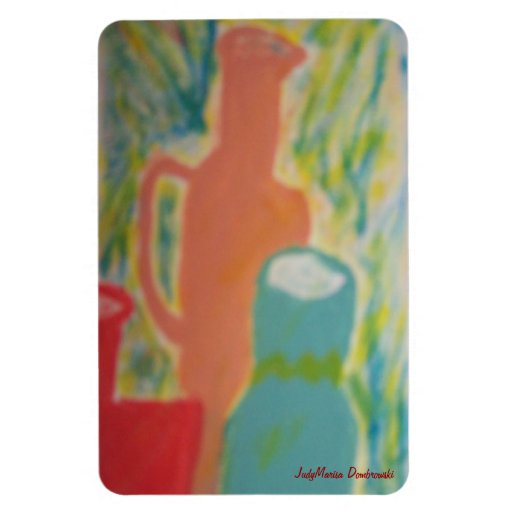 Three Clay Jugs Standing Together Rectangular Magnets