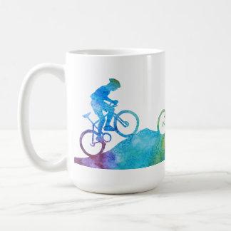 Three Colour-Washed Mountain Bikers Basic White Mug