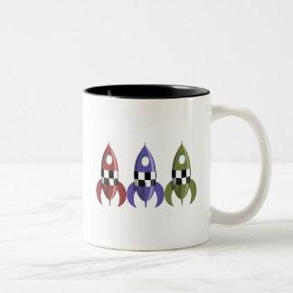 Three Coloured Rockets Two-Tone Coffee Mug