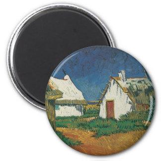 Three Cottages in Saintes-Maries-de-la-Mer 6 Cm Round Magnet