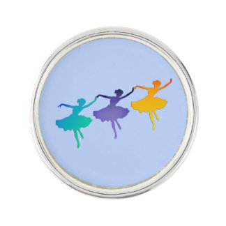 Three Dancers - Ballerinas on Blue Lapel Pin