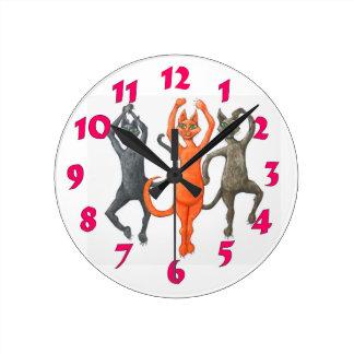 Three Dancing Cats Round Clock
