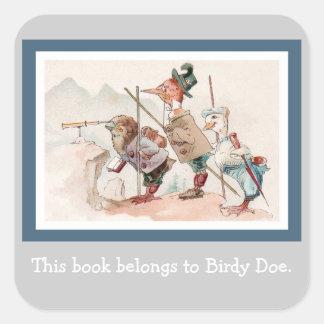 Three Explorers -  Vintage Anthropomorphic Birds Square Sticker