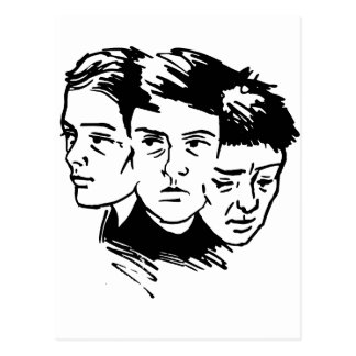 three faces postcard