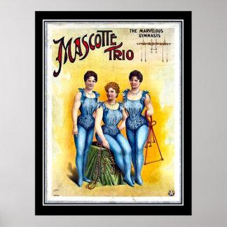 Three Female Gimnasts Vintage Circus Poster