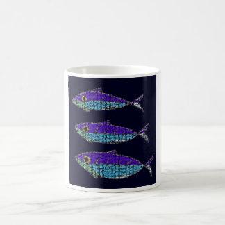 three fish basic white mug