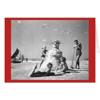 Three Girls Making A Snowman at the Beach Vintage Card