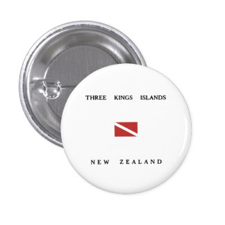 Three Kings Islands New Zealand Scuba Dive Flag 3 Cm Round Badge