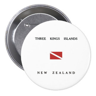Three Kings Islands New Zealand Scuba Dive Flag 7.5 Cm Round Badge