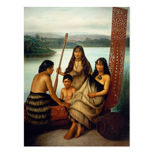 'Three Maori Girls and a Boy' - Lindauer Postcard