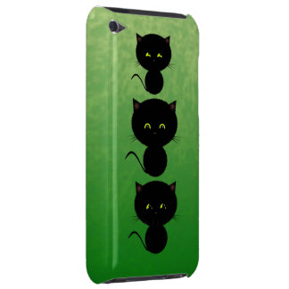 Three Micshevious Black Cats on Green iPod Touch Case