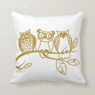 Three Owl Babies in Gold Glitter Cushion