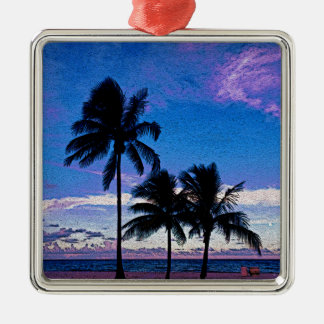 Three Palm trees Hollywood beach Florida. Christmas Ornament