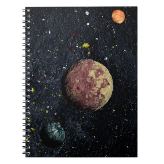 THREE PLANETS (an outer space design) ~ Spiral Note Book