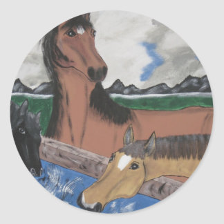 Three Pretty Horses Classic Round Sticker