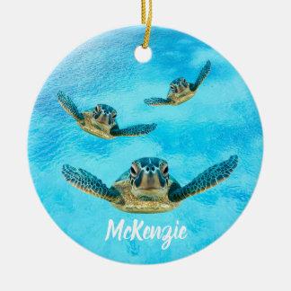 Three Sea Turtles Swimming Christmas Ornament