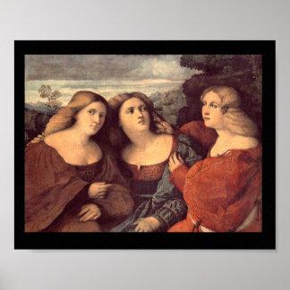 Three Sisters by Palma il Vecchio Canvas Print