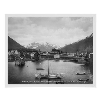 Three Sisters Mountains Sitka 1912 Posters