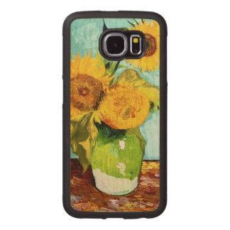 Three Sunflowers by Van Gogh Fine Art Wood Phone Case