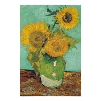 Three Sunflowers in a Vase, Vincent van Gogh. Photo Print
