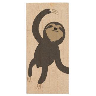 Three Toed Sloth Wooden USB Drive Wood USB 2.0 Flash Drive