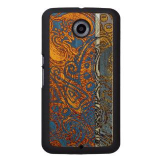 Three Tone Blue Jean Swirl Wood Phone Case