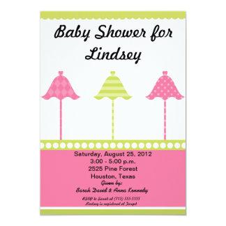 Three Umbrellas (Two) Baby Shower Invitation