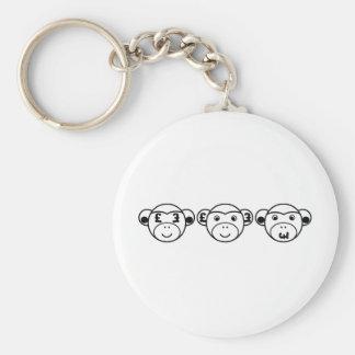 Three Unwise Monkeys (Pound, black) Basic Round Button Key Ring