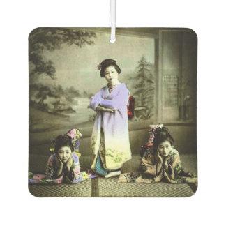 Three Vintage Geisha in Old Japan Hand Colored Car Air Freshener