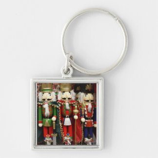 Three Wise Crackers - Nutcracker Soldiers Silver-Colored Square Key Ring