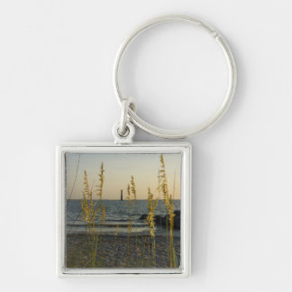 Through The Sea Oats Silver-Colored Square Key Ring
