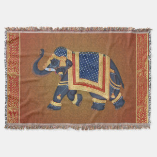 Throw Blanket red blue damask Elephant Yoga