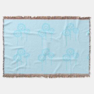 Throw Blanket, Turquoise Dandelion Design