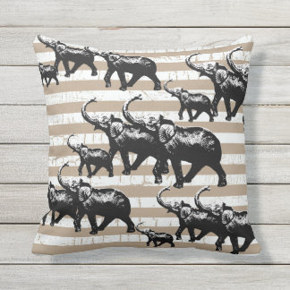 "Throw Pillow 16"" x 16"" elephants"