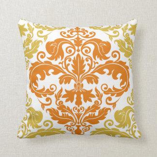 Throw Pillow - Damask Duo - Gold & Orange Cushion