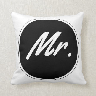 Throw Pillow: Typography -MR (White) Throw Pillow