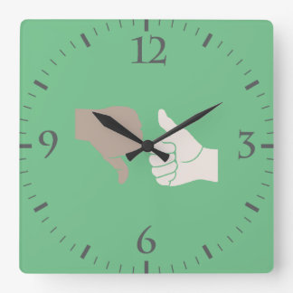 Thumbs Up Down Karma Goes Around Square Wall Clock