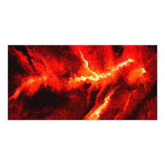Thunders - Red Abstract Modern Art Photo Card Template