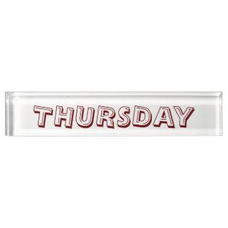 Thursday Desk Nameplate by Janz