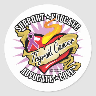 Thyroid Cancer Classic Heart Classic Round Sticker