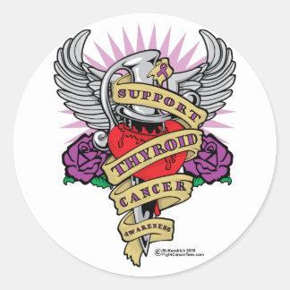 Thyroid Cancer Dagger Classic Round Sticker