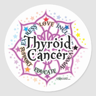 Thyroid Cancer Lotus Classic Round Sticker