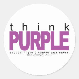 Thyroid Cancer Think Purple Classic Round Sticker