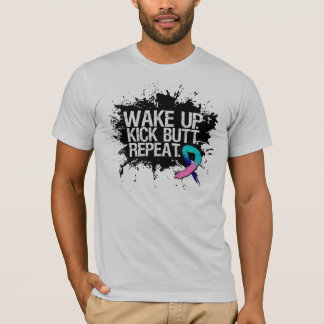 Thyroid Cancer Wake Up Kick Butt Repeat T-Shirt